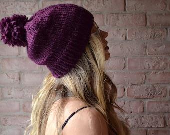 Slouchy Beanie With Pom-pom | Chunky Knit Hat | Winter Accessories