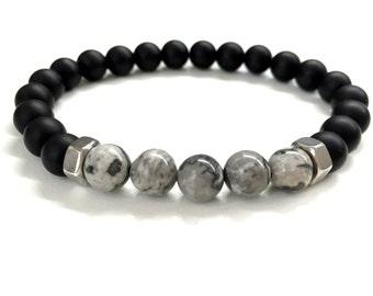 Men's Bead Bracelet. Men's Stone Jewelry. Stretch Bracelet. Elastic Bracelet. Black Onyx, Gray Jasper Stone Bracelet. Gemstone Jewelry