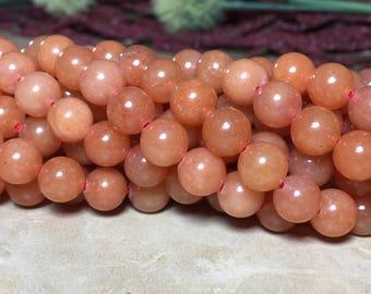 8mm Orange Aventurine Gemstone Full Strand Round 8mm Loose Beads, Aventurine, Natural Red Aventurine, Orange Aventurine