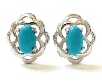 925 Sterling Silver Celtic style Turquoise Stud Earrings Gift Boxed SS17