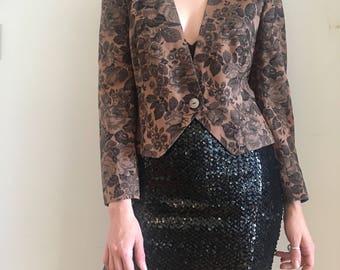 80s brown black floral deep v blazer, cropped autumn structured jacket, medium - vintage -