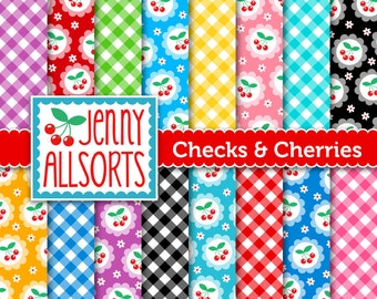Checks and Cherries Digital Paper Pack - 16 Sheets - Instant Download