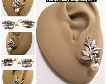 Avon Leaf Pearl Crystal Clip On Earrings Silver Tone Vintage 1974 Gloriana Dangling Bead Clear Faceted Stone