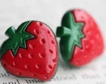 Strawberry Blast Stud Post Earrings