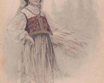 Russian Maiden Original Antique Art Postcard