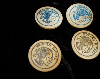 Four Indian Wooden Nickles Lanes Drugstore Pharmacy Advertising Lot 4