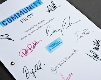 Community NBC Pilot TV Script with Signatures / Autographs Reprint Unique Gift Present Film Movie Fan Geek Sitcom