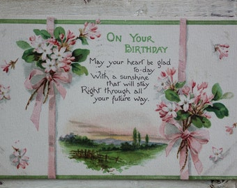 On Your Birthday Postcard 1915 linen