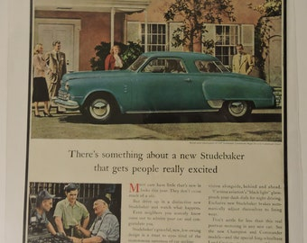 Studebaker Car Mounted Print Ad Dated 1947