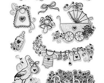 Forever in Time Clear Cling Rubber Stamp New Arival Baby Bottle Buggy Stork Bib