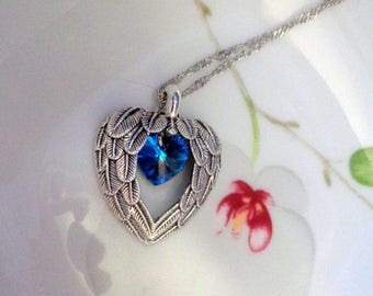 Angel Wings Necklace, Angel Necklace, Wings Pendant, Grief Jewelry Swarovski Heart Necklace