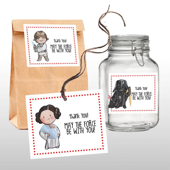 INSTANT DOWNLOAD Star Wars Baby Shower Favor Tags, Thank You Tags, Classic Star  Wars Characters, PRINTABLE, 2 .pdf Files From Darlingcustomprints On Etsy  ...