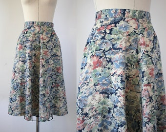 1970s vintage skirt / 70s gauzy floral skirt / 70s gored skirt / 70s blue floral skirt / 70s muted floral print skirt / xs small 25 inch