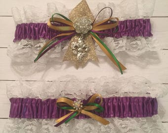 Mardi Gras Wedding Garter-2pc. Set