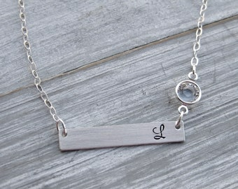 Sterling Silver Bar Necklace Birthstone Jewelry Personalized Jewelry Horizontal Bar Hand Stamped Initial Necklace Teen Gift Birthday Gift