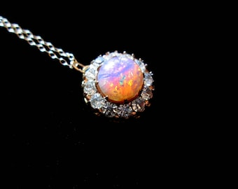 Fire Bridal - Vintage Harlequin Opal and Rhinestone Pendant Necklace