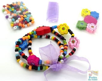 Purple Princess Kit! Seed beads bracelet/necklace, wooden beads and Ribbon (kit111)
