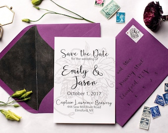 Rustic Brewery Save the Dates | Professionally Printed | Hops Wedding Save the Date