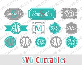 Monogram Frame svg, circle monogram frame, monogram frame cut file, SVG, DXF, EPS, Silhouette file, Cricut cut file, digital download