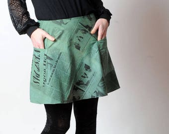 Green newspaper skirt, Real retro Vintage Fabric newspaper Patchwork skirt, Short green cotton skirt, MALAM, size UK 10