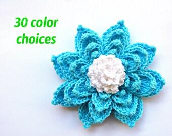 Art Crochet Flower Applique Blue Kids Decor Room Crochet Applique Scrapbooking Flower Crochet lily Crocheted Embellishment Water Lily Decor