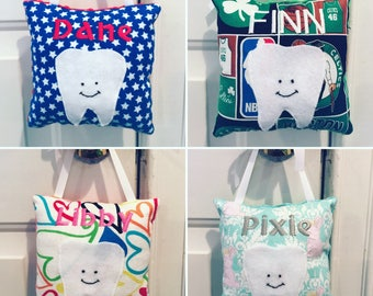 Personalized Tooth Fairy Pillow - Hanging Tooth Fairy Pillow with Tooth Pocket - Made to Order