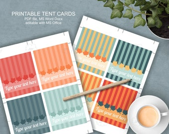 Thanksgiving Food Tent Cards - printable - buffet cards - dessert bar - place cards - download word template