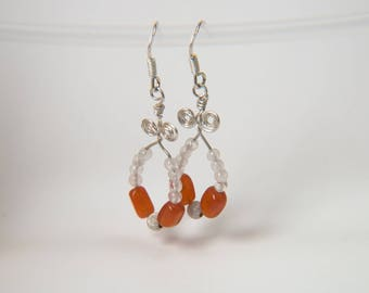 Wire wrapped Silver 925 moonstones and carnelian earrings * stone of well being