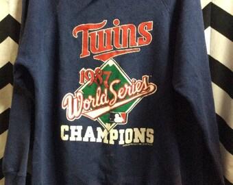 Vintage Pullover Sweatshirt Minnesota Twins World Series 1987