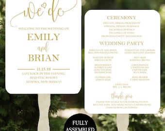 Wedding Program Fans Printable or Printed/Assembled with FREE Shipping - We Do Gold Collection