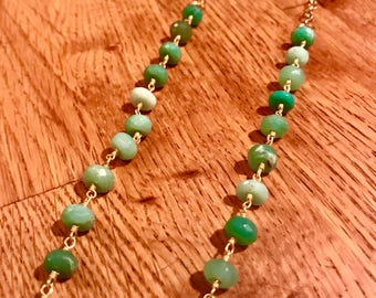 Handwrapped Chrysoprase and 18k Gold Vermeil Extra Long Multi Layer 1920's Style Necklace