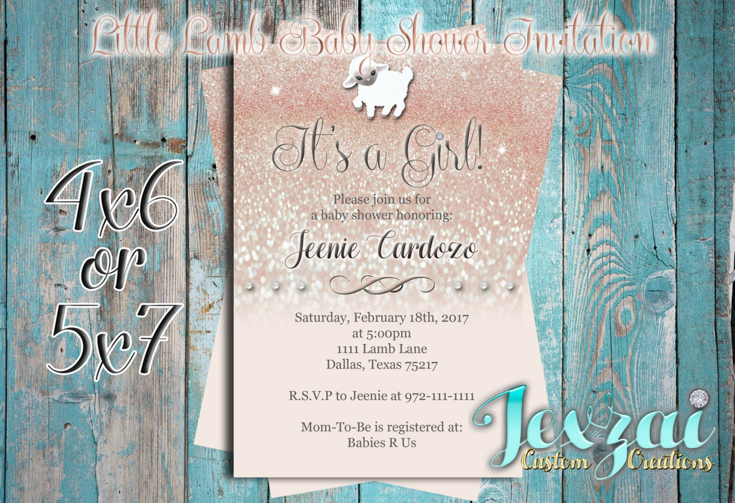 It\'s a Girl Baby Shower Invitation Little Lamb Baby