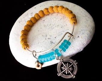 Nautical Beach Glass Bracelet, Lava Stone Bracelet, Beach Bracelet, Coastal Jewelry, Nautical Compass Charm, Island Jewelry, Cruise Wear