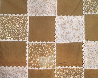 Tan and White Vintage Patchwork Cheater Quilt Fabric 1 yard cut