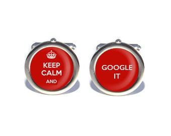 Keep Calm and Google It Cufflinks, Birthday, Father's Day, Wedding Cufflinks, Anniversary Gifts for Men, Gifts for Dad, Geeky Gift
