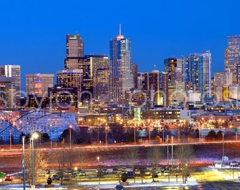 CANVAS Denver Skyline DUSK Broncos Panoramic Photo Print Cityscape Colorado