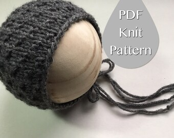 PDF Knit Pattern #0032 The Harley Knit Bonnet, Newborn, Knit PDF Pattern,Tutorial,Knit Pattern,Easy,Video,Instruction,Newborn,Beginner