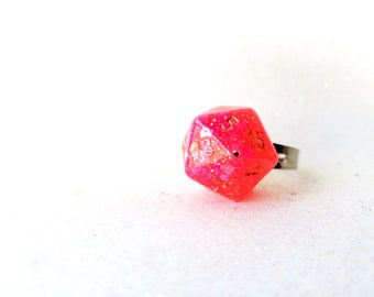 Individually cast clear resin D20 dice ring with hot pink heart glitter