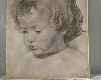 Art, Vintage Art, Vintage Drawing, Nicolaas Coral Necklace by Peter Paul Rubens, Print  of Pencil and Charcoal Drawing