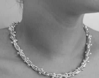 Silver Ball Necklace, Solid Silver Necklace, Statement Necklace, Classic Jewelry, Sterling Silver, Chunky Necklace, Silver, Ball Necklace