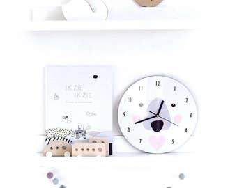 Polar Bear Wall Clock , Polar bear nursery, kids room decor, nursery decor, black and white kids room decor