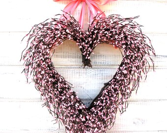 Mothers Day-Wreath-Mothers Day Gift-Valentine Wreath-Valentine Heart Wreath-Wedding Decor-Pink Wreath-Wedding Decor-Baby Nursery Decor-Gifts