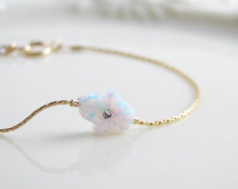 Small Opal Hamsa Bracelet with a Tiny Cubic Zirconia. October Birthday. Dainty Bracelet. Simple Modern Jewelry by PetitBlue