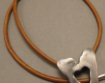 Jagged Heart and Leather Necklace