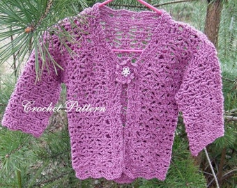 Bolero crochet pattern girl's Bolero jacket little girls Jacket girls Bolero crochet pattern Bolero crochet PDF English