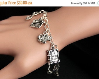 SUMMER SALE Librarian Bracelet.  Librarian Charm Bracelet. Education Bracelet. Silver Charm Bracelet. Librarian Jewelry. Handmade Jewelry.
