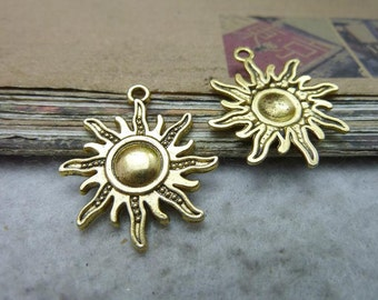 10 Sun Charms Antique Gold Tone Large with Beautiful Detail -WS7704