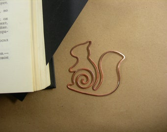 Wire bookmark paperclip squirrel bookmark copper wirerapped gift for booklover notebook accessories clip-style bookmark party favor