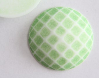 Huge vintage green and white round checkerboard cabochon 36mm (1)