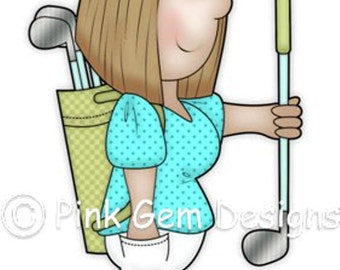 Digi Stamp Golfing Angie .Lady  Birthdays. Mother's  Day